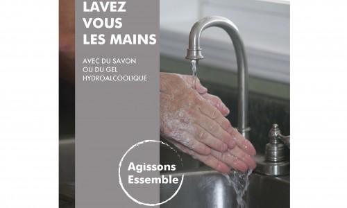 Affiche lavez-vous les mains (adhésif)